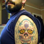 муэртос тату №366 - классный вариант рисунка, который успешно можно использовать для переделки и нанесения как муэртос татуировки