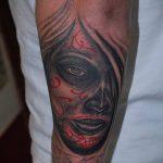 муэртос тату №344 - уникальный вариант рисунка, который удачно можно использовать для переработки и нанесения как муэртос тату хной