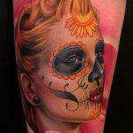 муэртос тату №564 - эксклюзивный вариант рисунка, который легко можно использовать для переделки и нанесения как муэртос татуировки