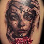 муэртос тату №394 - достойный вариант рисунка, который удачно можно использовать для переделки и нанесения как муэртос тату маски