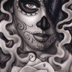муэртос тату №746 - уникальный вариант рисунка, который легко можно использовать для переделки и нанесения как муэртос тату маски
