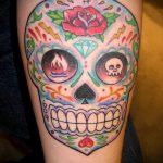 муэртос тату №176 - прикольный вариант рисунка, который успешно можно использовать для доработки и нанесения как муэртос тату маски