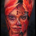 муэртос тату №141 - интересный вариант рисунка, который легко можно использовать для преобразования и нанесения как муэртос тату хной