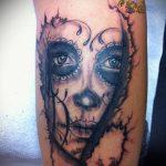 муэртос тату №36 - эксклюзивный вариант рисунка, который удачно можно использовать для доработки и нанесения как тату санта муэрте