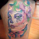 муэртос тату №500 - достойный вариант рисунка, который удачно можно использовать для преобразования и нанесения как муэртос тату на руке