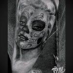 муэртос тату №194 - прикольный вариант рисунка, который хорошо можно использовать для преобразования и нанесения как муэртос тату на руке