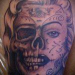 муэртос тату №930 - классный вариант рисунка, который успешно можно использовать для переработки и нанесения как муэртос тату