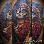 муэртос тату №114 - уникальный вариант рисунка, который удачно можно использовать для преобразования и нанесения как муэртос тату рукав