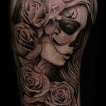 муэртос тату №870 - интересный вариант рисунка, который успешно можно использовать для преобразования и нанесения как муэртос тату на руке
