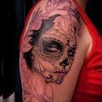 муэртос тату №412 - эксклюзивный вариант рисунка, который удачно можно использовать для преобразования и нанесения как муэртос татуировки