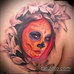 муэртос тату №373 - классный вариант рисунка, который удачно можно использовать для преобразования и нанесения как муэртос тату