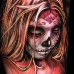муэртос тату №454 - крутой вариант рисунка, который хорошо можно использовать для преобразования и нанесения как муэртос тату маски