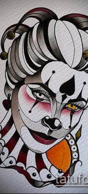 тату арлекин №94 – интересный вариант рисунка, который хорошо можно использовать для преобразования и нанесения как тату арлекин девушка