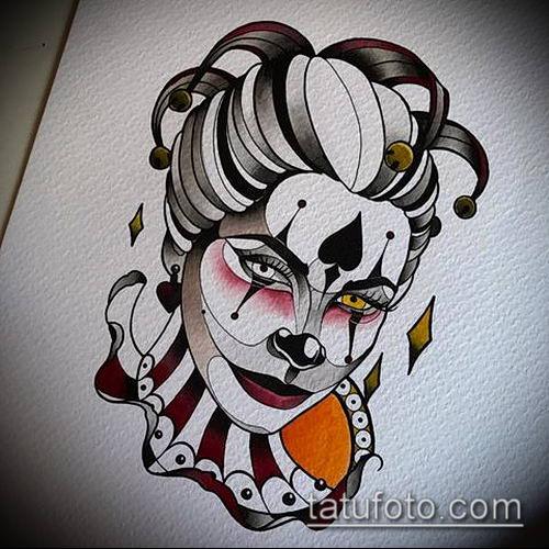 тату арлекин №94 - интересный вариант рисунка, который хорошо можно использовать для преобразования и нанесения как тату арлекин девушка