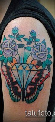тату бриллиант №358 – классный вариант рисунка, который успешно можно использовать для переработки и нанесения как тату бриллиант на животе