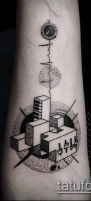 тату геометрические №556 – интересный вариант рисунка, который удачно можно использовать для переработки и нанесения как геометрические тату на предплечье