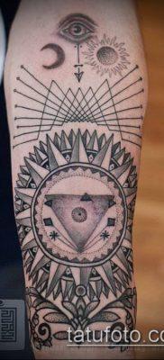 тату геометрические №916 – прикольный вариант рисунка, который успешно можно использовать для преобразования и нанесения как геометрические животные тату