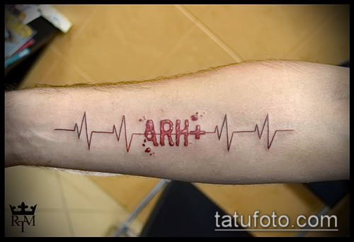 фото тату группа крови (Blood type Tattoo) (значение) - пример рисунка - 005 tatufoto.com