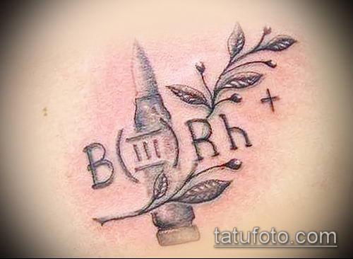 фото тату группа крови (Blood type Tattoo) (значение) - пример рисунка - 009 tatufoto.com