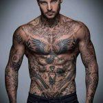 тату для мужчин №935 - достойный вариант рисунка, который легко можно использовать для преобразования и нанесения как тату на латыни для мужчин