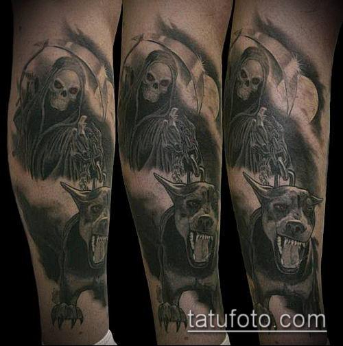тату доберман №371 - эксклюзивный вариант рисунка, который хорошо можно использовать для доработки и нанесения как тату доберман запястье
