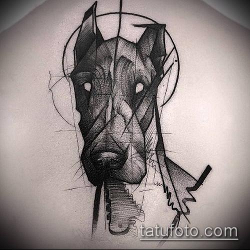 тату доберман №513 - эксклюзивный вариант рисунка, который удачно можно использовать для доработки и нанесения как татуировка доберман