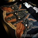 тату доберман №866 - интересный вариант рисунка, который успешно можно использовать для доработки и нанесения как татуировка доберман