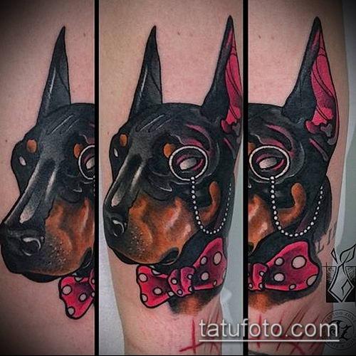 тату доберман №133 - эксклюзивный вариант рисунка, который удачно можно использовать для доработки и нанесения как тату доберман запястье