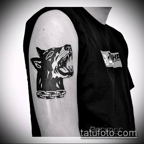 тату доберман №9 - уникальный вариант рисунка, который легко можно использовать для преобразования и нанесения как тату доберман на предплечье