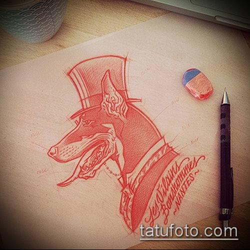 тату доберман №187 - уникальный вариант рисунка, который хорошо можно использовать для доработки и нанесения как тату доберман на икре
