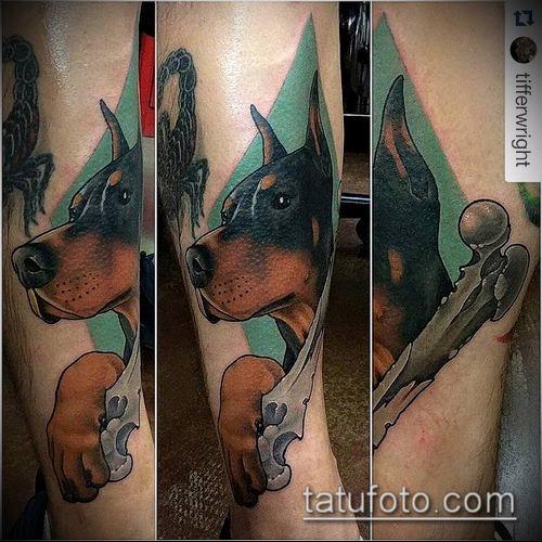тату доберман №395 - прикольный вариант рисунка, который успешно можно использовать для переработки и нанесения как тату доберман запястье