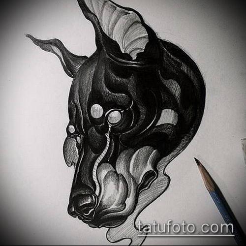 тату доберман №431 - крутой вариант рисунка, который удачно можно использовать для доработки и нанесения как тату доберман графика