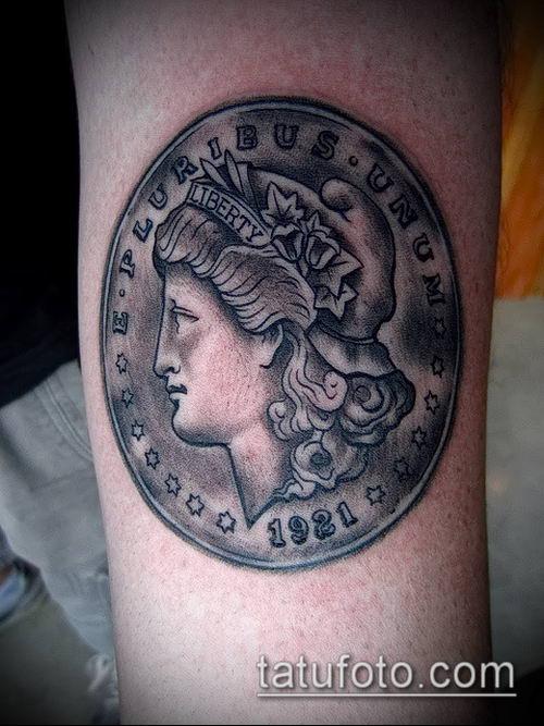 фото тату доллар (tattoo dollar) (значение) - пример рисунка - 015 tatufoto.com