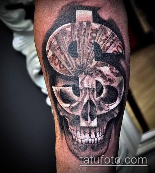 фото тату доллар (tattoo dollar) (значение) - пример рисунка - 050 tatufoto.com