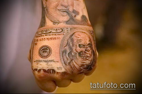 фото тату доллар (tattoo dollar) (значение) - пример рисунка - 053 tatufoto.com