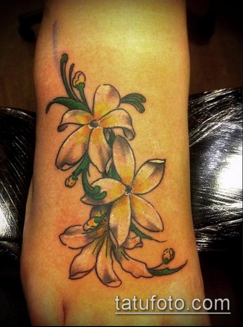 тату жасмин №407 - эксклюзивный вариант рисунка, который успешно можно использовать для доработки и нанесения как Tattoo jasmine