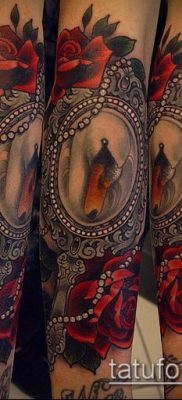 тату зеркало №727 – уникальный вариант рисунка, который успешно можно использовать для доработки и нанесения как тату зеркало