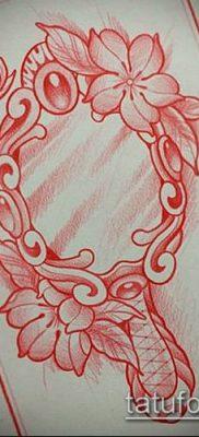 тату зеркало №639 – прикольный вариант рисунка, который успешно можно использовать для переделки и нанесения как тату зеркала на спине