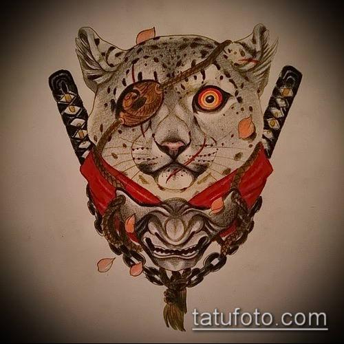 тату ирбис №274 - интересный вариант рисунка, который легко можно использовать для переделки и нанесения как тату ирбис на спине