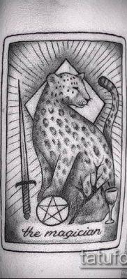 тату ирбис №354 – уникальный вариант рисунка, который удачно можно использовать для доработки и нанесения как тату ирбис на спине