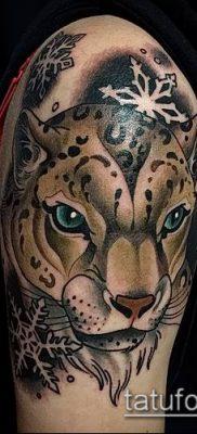 тату ирбис №309 – классный вариант рисунка, который удачно можно использовать для преобразования и нанесения как тату ирбис снежный барс