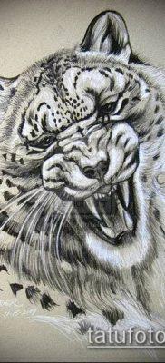 тату ирбис №215 – классный вариант рисунка, который успешно можно использовать для переделки и нанесения как тату ирбис снежный барс