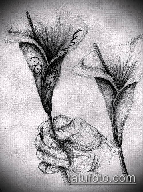 тату каллы №867 - эксклюзивный вариант рисунка, который легко можно использовать для переделки и нанесения как тату цветок каллы