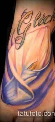 тату каллы №675 – классный вариант рисунка, который удачно можно использовать для доработки и нанесения как тату каллы акварелью