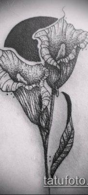 тату каллы №17 – эксклюзивный вариант рисунка, который успешно можно использовать для переработки и нанесения как тату каллы акварелью