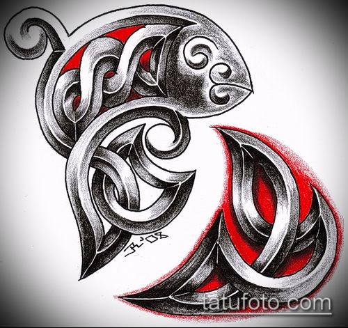 тату кельтика №103 - крутой вариант рисунка, который хорошо можно использовать для переработки и нанесения как тату кельтика на ногу