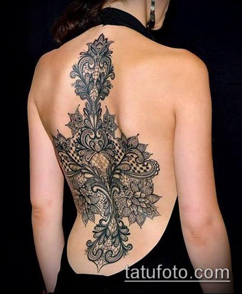 тату кружева №647 - прикольный вариант рисунка, который легко можно использовать для переделки и нанесения как тату роза с кружевами