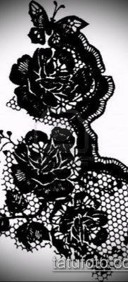 тату кружева №306 – крутой вариант рисунка, который хорошо можно использовать для преобразования и нанесения как тату роза с кружевами