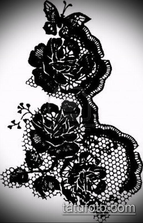 тату кружева №306 - крутой вариант рисунка, который хорошо можно использовать для преобразования и нанесения как тату роза с кружевами