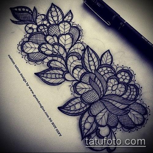 тату кружева №149 - прикольный вариант рисунка, который легко можно использовать для преобразования и нанесения как тату кружева под грудью